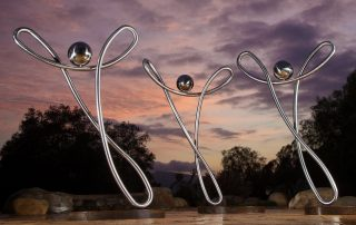 Rejoice! sculpture in stainless steel by Douglas Lochner