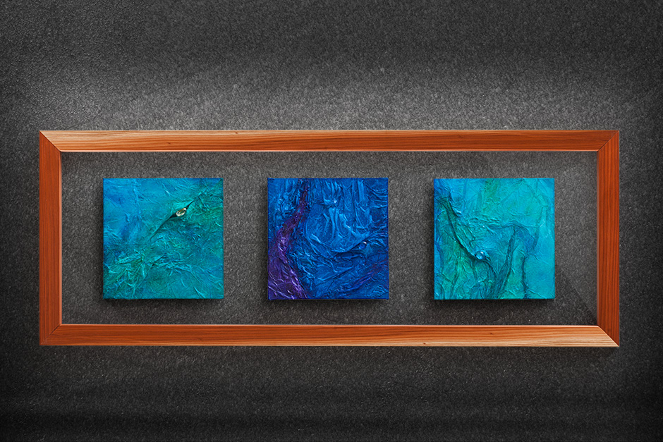 acrylic on canvas mounted on glass floating in a redwood frame 2015 douglas lochner