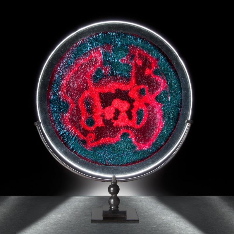 Azurite, cast glass sculpture by Douglas Lochner